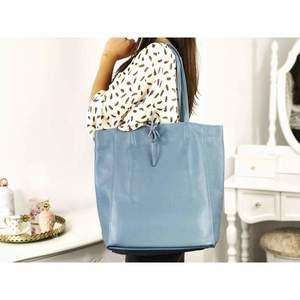 Geantă shopper lake blue piele naturală Bonnie imagine