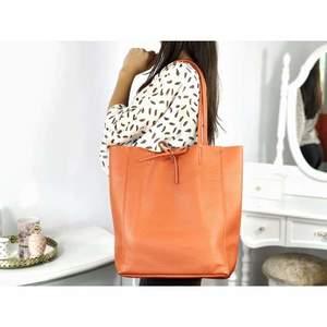 Geantă shopper portocalie piele naturală Bonnie imagine