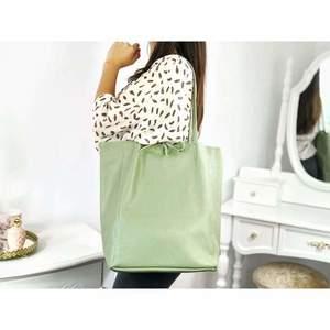 Geantă shopper verde pastel piele naturală Bonnie imagine