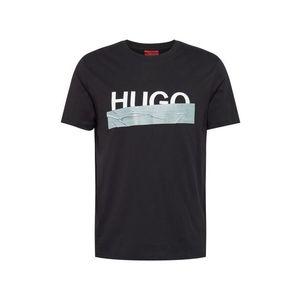 HUGO Tricou 'Dicagolino' argintiu / negru / alb imagine