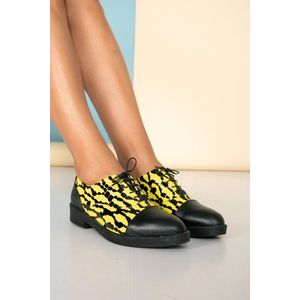 Pantofi josi negri cu imprimeu galben imagine