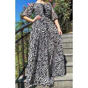 Rochie lunga din voal cu imprimeu Zebra imagine