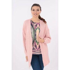 Cardigan lung roz tricotat spic imagine