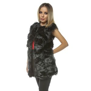 Vesta lunga de blana Frozen neagra imagine