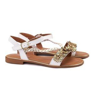 Sandale dama din piele alba cu toc mic 2112 imagine