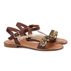 Sandale dama din piele maro cu toc mic 2109 imagine