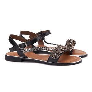 Sandale dama din piele neagra cu toc mic 2114 imagine