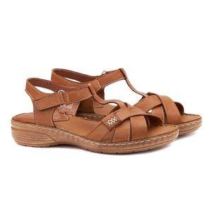 Sandale dama din piele maro fara toc 2115 imagine