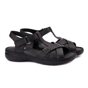 Sandale dama din piele neagra fara toc 2117 imagine