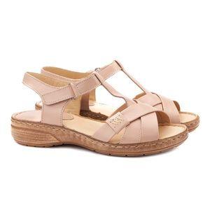Sandale dama din piele nude fara toc 2116 imagine