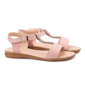 Sandale dama din piele roz fara toc 2106 imagine