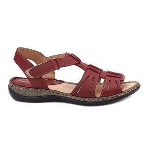 Sandale dama din piele visinie fara toc 2092 imagine