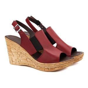 Sandale dama din piele grena cu platforma 2132 imagine