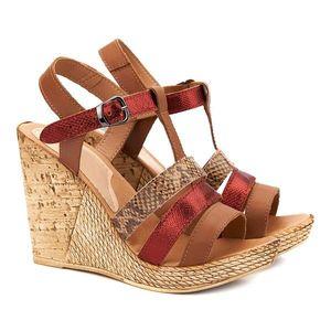Sandale dama din piele maro cu platforma 2120 imagine