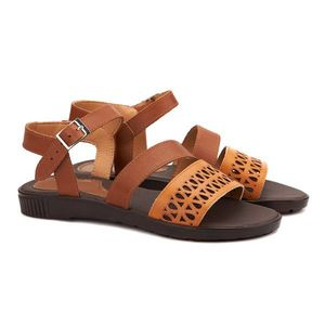 Sandale dama din piele maro fara toc 2121 imagine