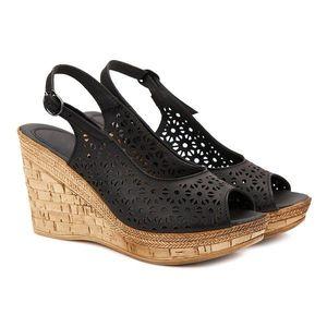 Sandale dama din piele neagra cu platforma 2126 imagine