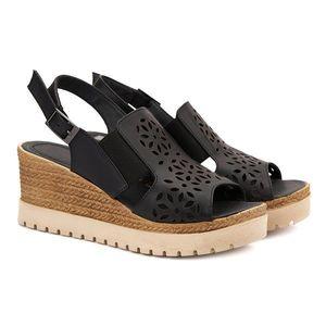 Sandale dama din piele neagra cu platforma 2122 imagine
