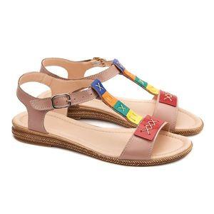 Sandale dama fara toc din piele bej 2157 imagine