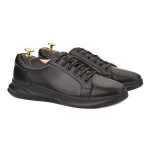 Pantofi barbati casual din piele naturala neagra 1018 imagine