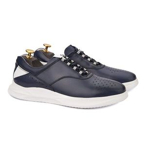 Pantofi barbati casual din piele naturala bleumarin 1020 imagine