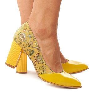 Pantofi dama din piele naturala cu toc gros 4184 imagine
