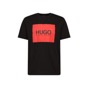 HUGO Tricou 'Dolive' negru / roșu deschis imagine