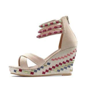 LASCANA Sandale cu baretă roșu / bej / roz imagine