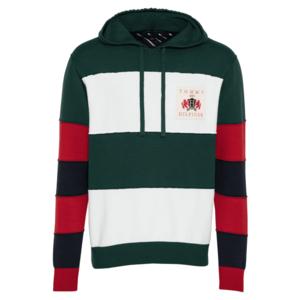 TOMMY HILFIGER Bluză de molton 'RUGBY' verde închis / alb / roșu / navy imagine