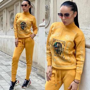 Trening dama galben mustar cu imprimeu din tricot imagine