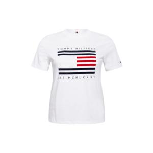 Tommy Hilfiger Curve Tricou alb / albastru închis / roșu imagine