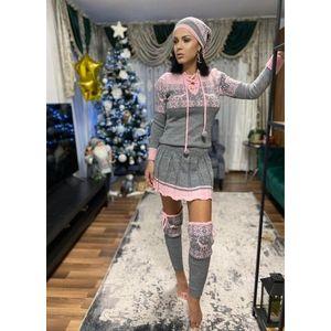 Rochie ieftina din tricot gri cu jambiere si caciula model Craciun imagine