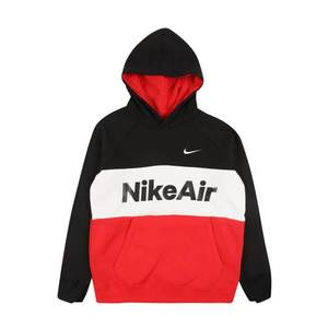 Nike Sportswear Bluză de molton 'AIR PO' roșu / negru / alb imagine