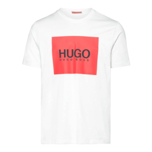 HUGO Tricou 'Dolive' alb natural / roșu / negru imagine