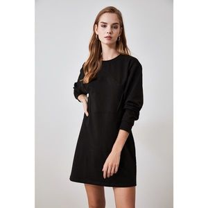 Trendyol Knitted Sweat Dress with Black Corset imagine