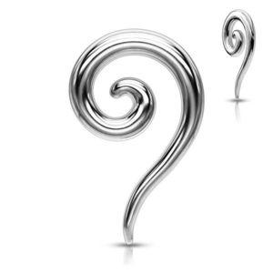 Piercing pentru ureche din oțel - expander spiralat lucios - Diametru piercing: 2 mm imagine