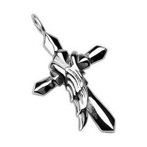 Pandantiv din oțel de culoare argintie - cruce cu aripa de înger imagine