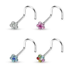 Inel nas cu floare din zircon colorat - Diametru piercing: 0, 8 mm, Culoare Piercing: Transparent imagine