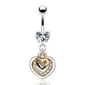 Piercing pentru buric - inimi în culoarea cuprului, aur și culoare argintie, zirconii transparente imagine