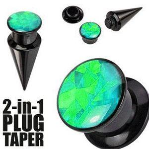 Expander 2-in-1 și plug de culoare neagră - negru și verde - Lățime: 10 mm imagine