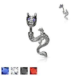 Piercing pentru buric – dragon cu ochi din zircon - Culoare Piercing: Albastru imagine