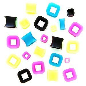 Tunel colorat pentru ureche – pătrat - Diametru piercing: 10 mm, Culoare Piercing: Albastru imagine