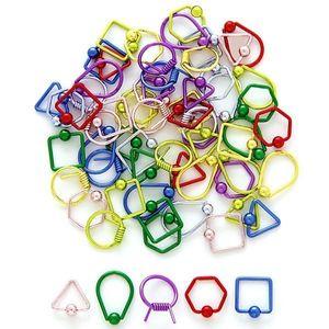 Inel cu bile - forme geometrice - Culoare Piercing: Albastru, Formă piercing: Pătrat imagine