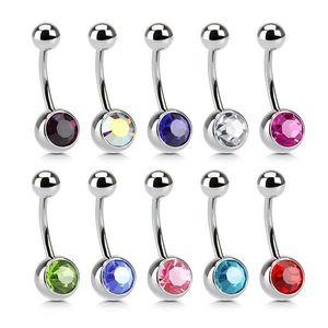 Piercing din oţel pentru buric – zircon - Culoare zirconiu piercing: Albastru - B imagine