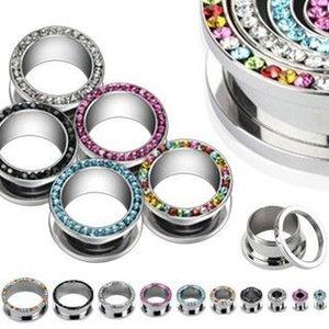 Tunel rotund pentru ureche – zircon - Diametru piercing: 10 mm, Culoare zirconiu piercing: Negru - K imagine