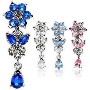 Piercing pentru buric - floare, fluture, lacrimă și zircon - Culoare Piercing: Albastru imagine