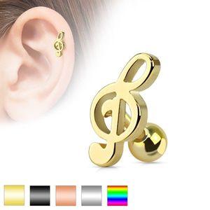 Piercing pentru ureche, din oţel chirurgical - cheia sol lucioasa - Culoare Piercing: Argintiu imagine