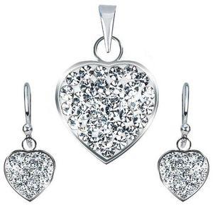 Set din argint 925 - pandantiv şi cercei, inimă transparentă strălucitoare imagine