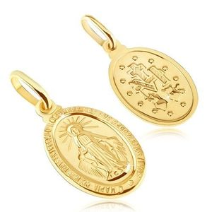 Pandantiv din aur - placă ovală cu Fecioara Maria imagine