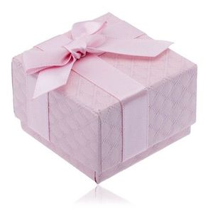 Cutiuță de cadou roz pentru bijuterii cu model pătrat, fundiță imagine