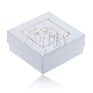 Cutiuță de cadou albă, lucioasă pentru cercei, motiv auriu de botez imagine